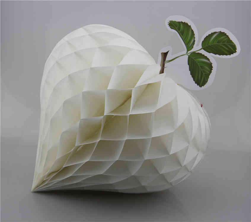 White Strawberry Shaped Tissue Paper Honeycomb Balls