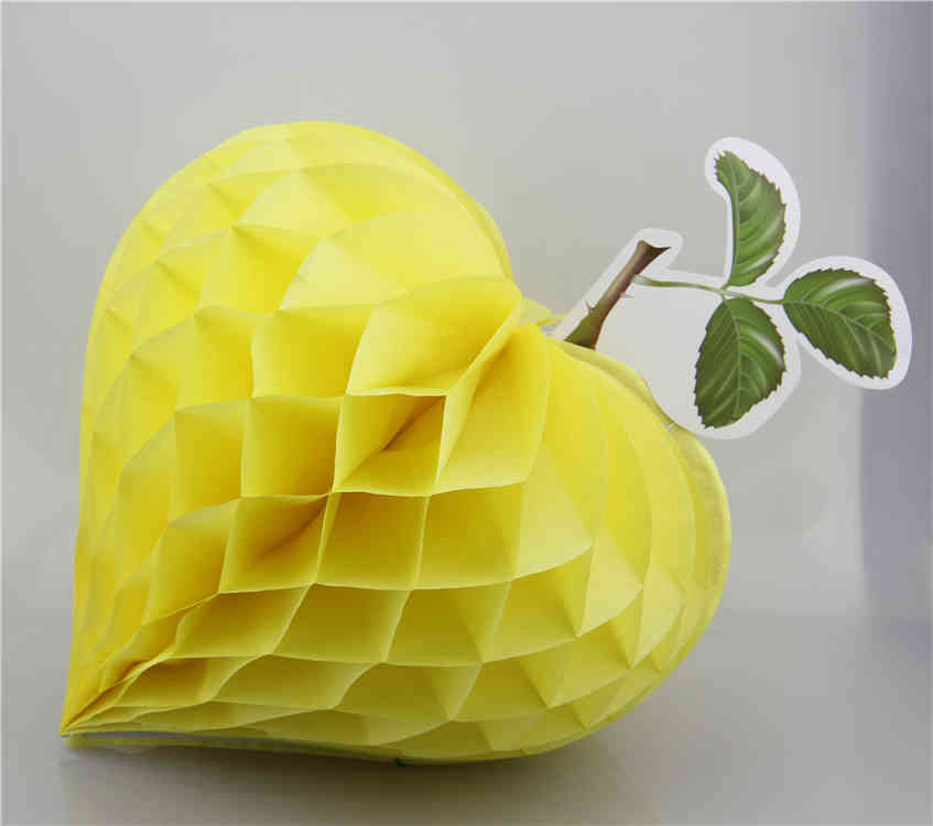 Yellow Strawberry Shaped Tissue Paper Honeycomb Balls