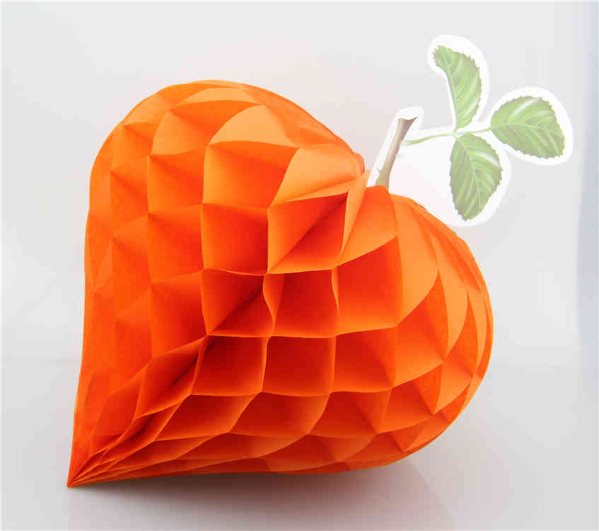 Orange Strawberry Shaped Tissue Paper Honeycomb Balls