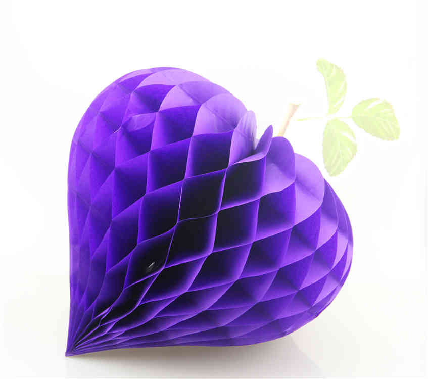Purple Strawberry Shaped Tissue Paper Honeycomb Balls