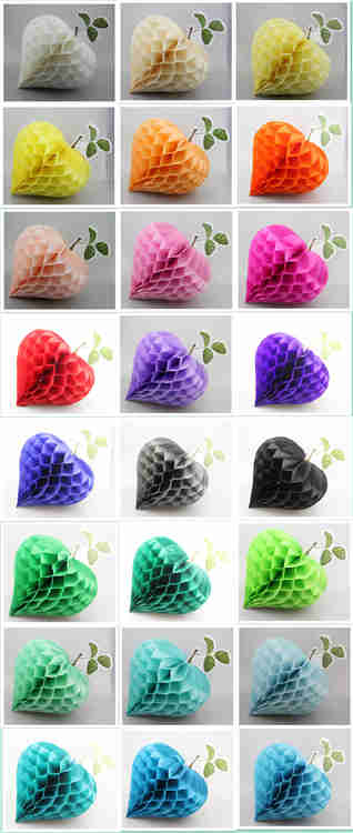 Colorful Strawberry Shaped Tissue Paper Honeycomb Balls