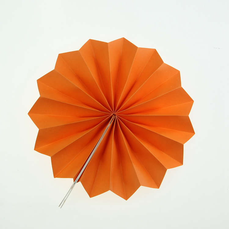 orange hanging fan