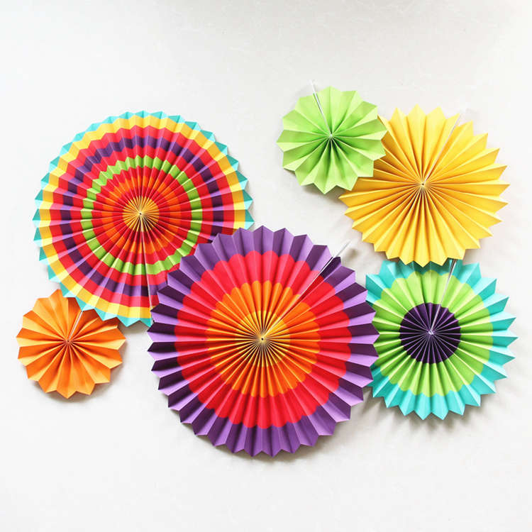 colorful paper fan set