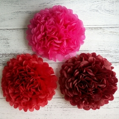 Red Tissue Pom Poms Paper Flowers