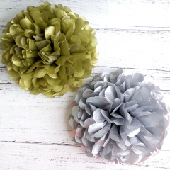 gold and silver pearlescent tissue paper pom poms