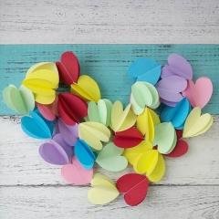 tissue paper 3d heart shape wire garlands