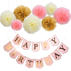 Pink and Gold Happy Birthday Banner