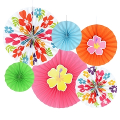 Flowers Paper Fans For Party Decorations set of 6