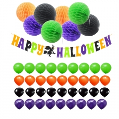 Happy Halloween Banner Kit with Latex Balloons