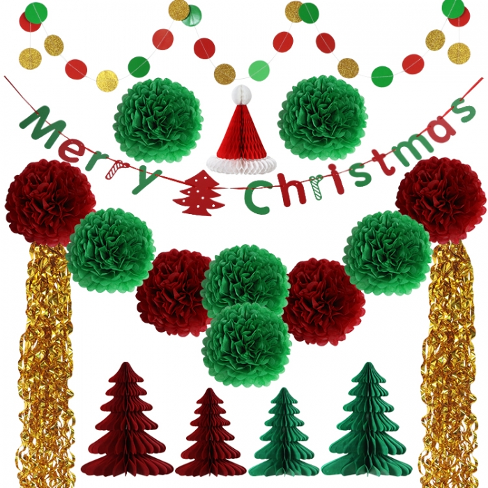 Merry Christmas Decorations  Paper Honeycomb Tree