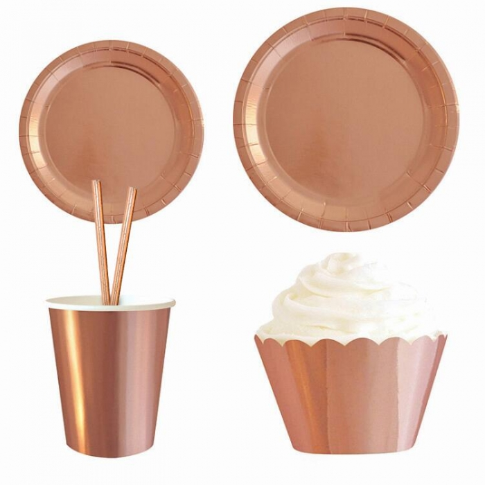 Disposable Tableware Rose Gold Foil Paper Plates